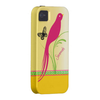 Trendy Stylish Fuchsia Butterfly Bird Greek Key iPhone 4/4S Case