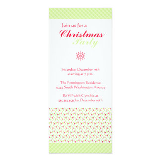 Trendy stylish green Christmas holly party invite