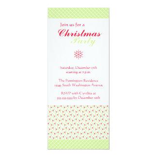 "Trendy stylish green Christmas holly party invite 4"" X 9.25"" Invitation Card"