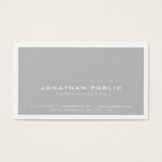 Trendy Stylish Modern Minimalist Grey Plain Business Card