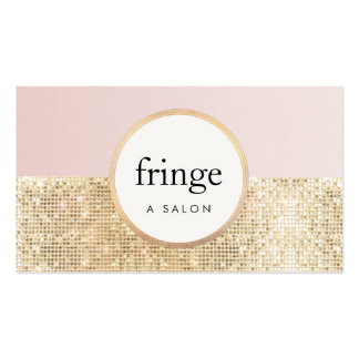 Trendy Stylish Pink and Gold Sequin Beauty Salon Pack Of Standard Business Cards