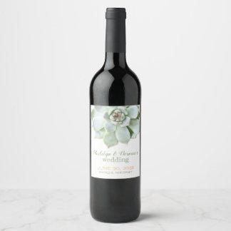 Trendy Succulent Garden Wedding Wine Label
