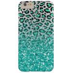 trendy summer aqua green leopard animal print