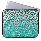 trendy summer aqua green leopard animal print laptop sleeve