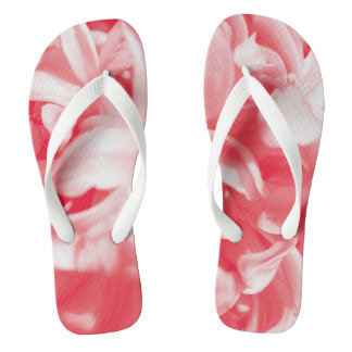 Trendy summer red and white flowers thongs