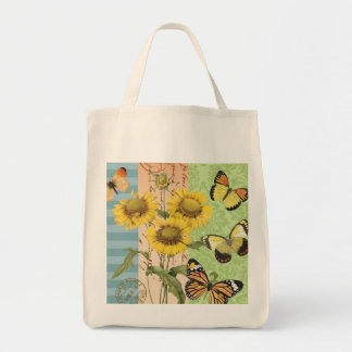 Trendy sunflowers and butterflies tote bag