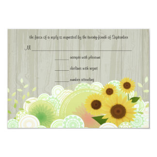 Trendy Sunflowers RSVP Response Card 9 Cm X 13 Cm Invitation Card