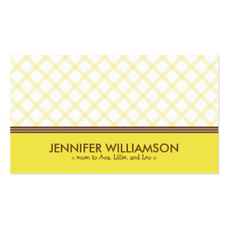 Trendy Sunny Yellow Plaid Mommy Calling Card Business Card Templates