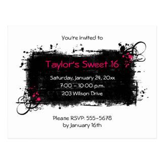 Trendy Sweet 16 Party Invitation Postcard