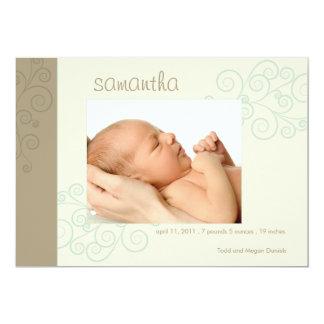 Trendy Swirls Birth Announcement