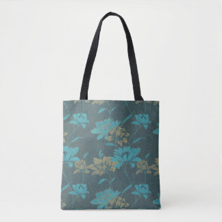 Trendy Taupe and Teal Blue Floral Print Tote Bag