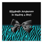 Trendy Teal And Black Zebra Print Boy Baby Shower Personalized Announcement