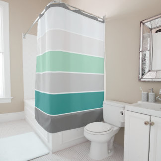 Trendy Teal And Gray Stripes Pattern Shower Curtain