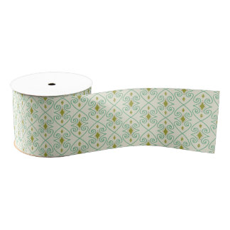 Trendy Teal and Green Scroll Pattern Grosgrain Ribbon