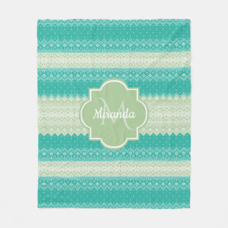 Trendy Teal and Light Green Knit Pattern and Name Fleece Blanket