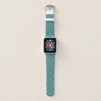 Trendy Teal and White Polka Dots Apple Watch Band