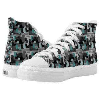 Trendy Teal, Black and Gray Digital Camouflage High Tops