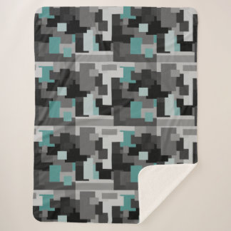 Trendy Teal, Black and Gray Digital Camouflage Sherpa Blanket