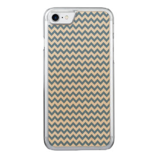 Trendy Teal Blue Chevron Stripe Pattern Carved iPhone 7 Case