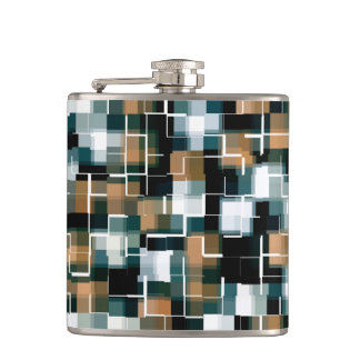 Trendy Teal Brown Black White Plaid Hip Flask