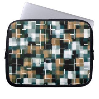 Trendy Teal Brown Black White Plaid Laptop Sleeve