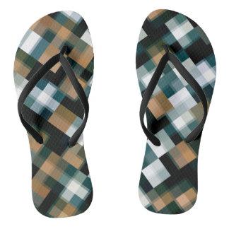 Trendy Teal Brown Black White Plaid Thongs