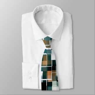 Trendy Teal Brown Black White Plaid Tie