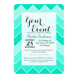 Trendy Teal Gradient Thick Chevron Zigzag Pattern Card