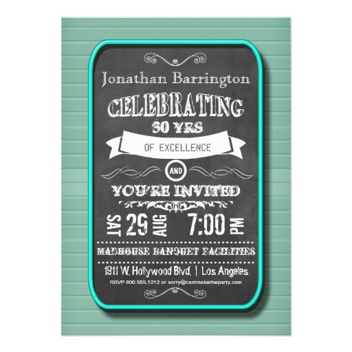 Trendy Teal Neon Chalkboard Birthday Party Invite