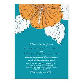 "Trendy Teal Orange Hibiscus Wedding Invitation 5"" X 7"" Invitation Card"