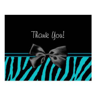 Trendy Teal Thank You Zebra Print With Ribbon Postcard