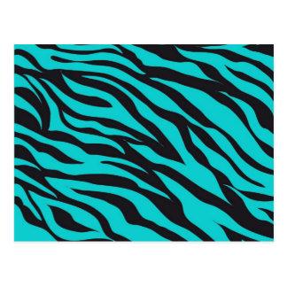 Trendy Teal Turquoise Black Zebra Stripes Postcard