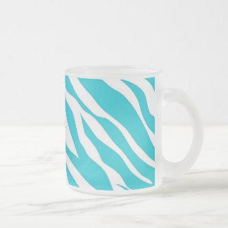 Trendy Teal White Zebra Stripes Wild Animal Prints Mug