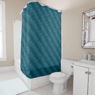 Trendy Texture Dark Teal Pattern Shower Curtain