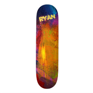 Trendy Textured Blue Red Black Gold Painted Skateboard Deck
