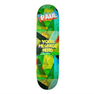 Trendy Textured Paint Green Yellow Blue Black Custom Skateboard