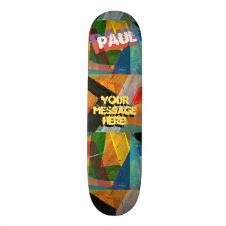 Trendy Textured Paint Green Yellow Blue Black Skate Board Deck