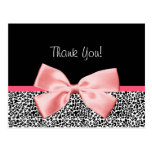 Trendy Thank You Leopard Print With Pink Ribbon Post Card