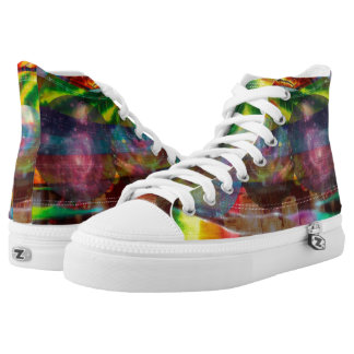Trendy Tie Dye Colorful High top shoes Printed Shoes