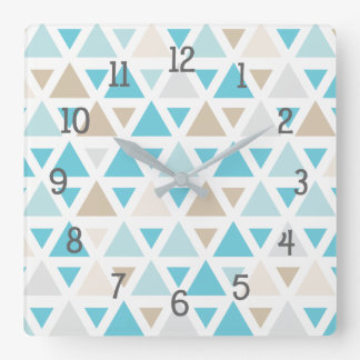 Trendy triangle pattern in aqua, turquoise, tan square wall clock