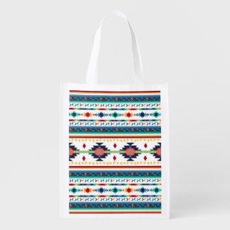 trendy tribal ethnic Navajo geometric pattern Reusable Grocery Bag