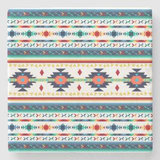 trendy tribal ethnic Navajo geometric pattern Stone Coaster