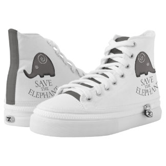 Trendy Tribal Slogan Save The Elephant High Tops