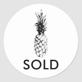 Trendy  Tropical Chic Pineapple Custom Sold Classic Round Sticker