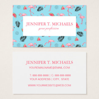 Trendy Tropical Flamingo & Watermelon Pattern Business Card