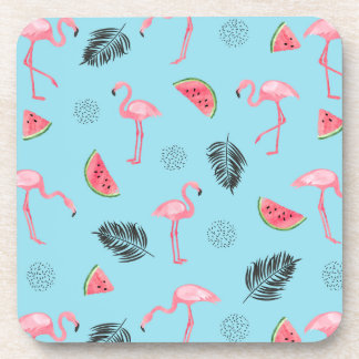 Trendy Tropical Flamingo & Watermelon Pattern Coaster