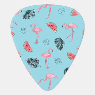 Trendy Tropical Flamingo & Watermelon Pattern Guitar Pick