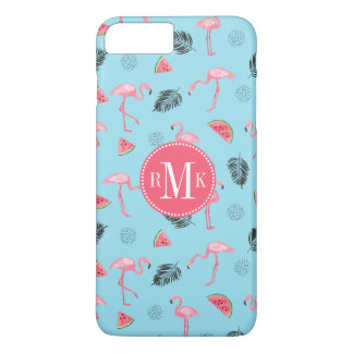 Trendy Tropical Flamingo & Watermelon Pattern iPhone 8 Plus/7 Plus Case