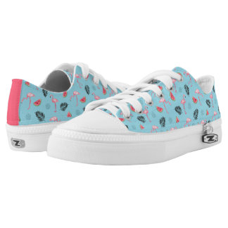 Trendy Tropical Flamingo & Watermelon Pattern Low Tops