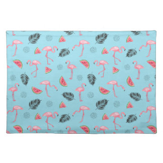 Trendy Tropical Flamingo & Watermelon Pattern Placemat